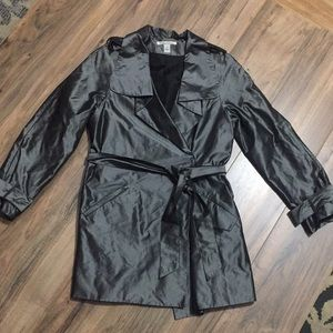 NWOT Kenneth Cole gun metal gray trench Petite S
